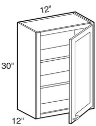 """Mocha Maple Glaze Wall Cabinet   12""""W x 12""""D x 30""""H  W1230"""
