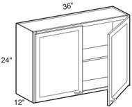 """Chocolate Maple Glaze Wall Cabinet   36""""W x 12""""D x 24""""H  W3624"""