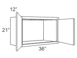 """Mocha Maple Glaze Wall Cabinet   36""""W x 12""""D x 21""""H  W3621"""