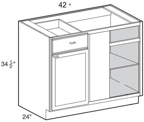 "Crème Maple Glaze Base Blind Corner Cabinet   42""W x 24""D x 34 1/2""H  BBC42"