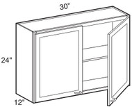 """White Shaker Maple Wall Cabinet 30"""" W x 24"""" H x 12"""" D"""