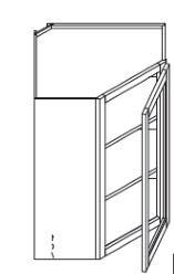 "Pearl Maple Glaze Wall Diagonal Corner Glass Cabinet   24""W x 12""D x 36""H  WMDC2436H"