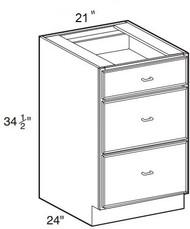 "Ebony Shaker Base Drawer Cabinet   21""W x 24""D x 34 1/2""H  DB21-3"