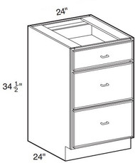 "Charlton Base Drawer Cabinet   24""W x 24""D x 34 1/2""H  DB24-3"