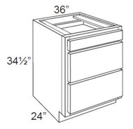 "Ebony Shaker  Base Drawer Cabinet   36""W x 24""D x 34 1/2""H  DB36-3"