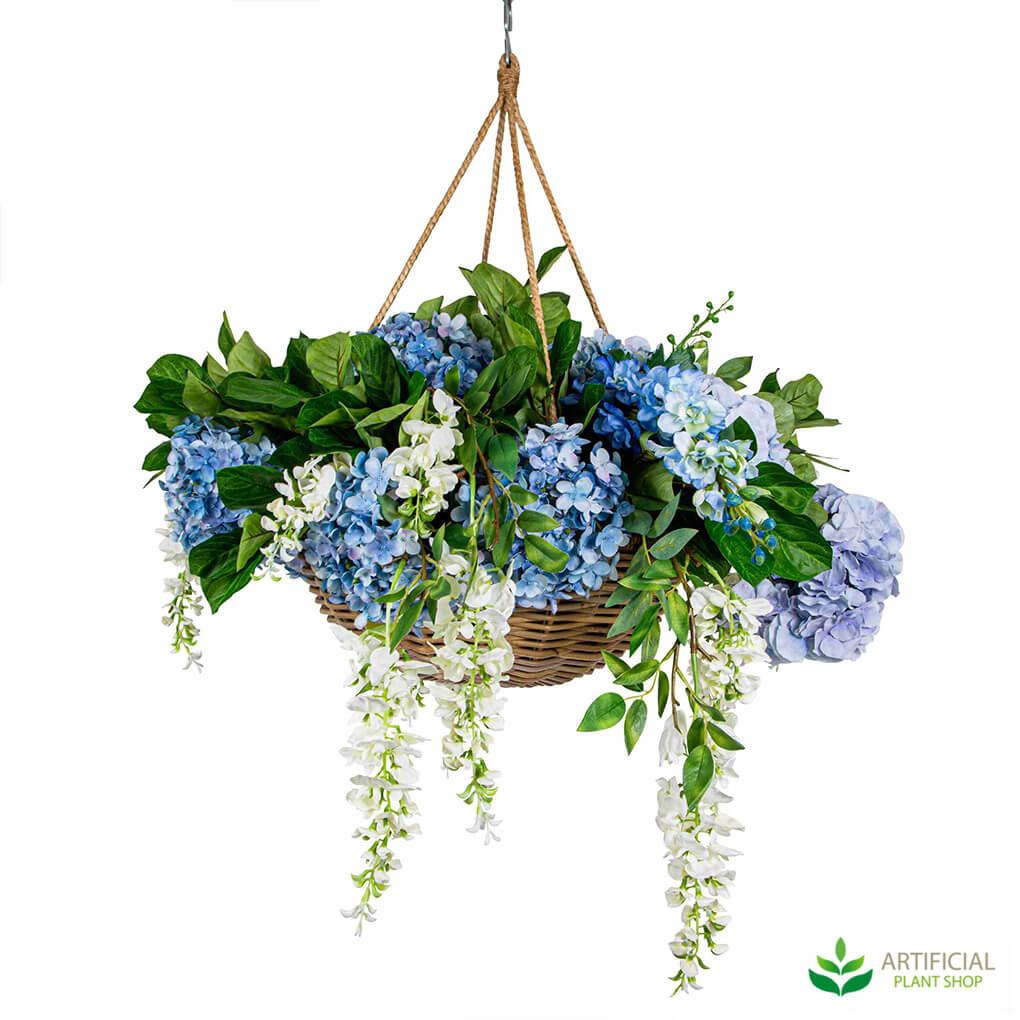 Artificial hydrangeas in hanging basket
