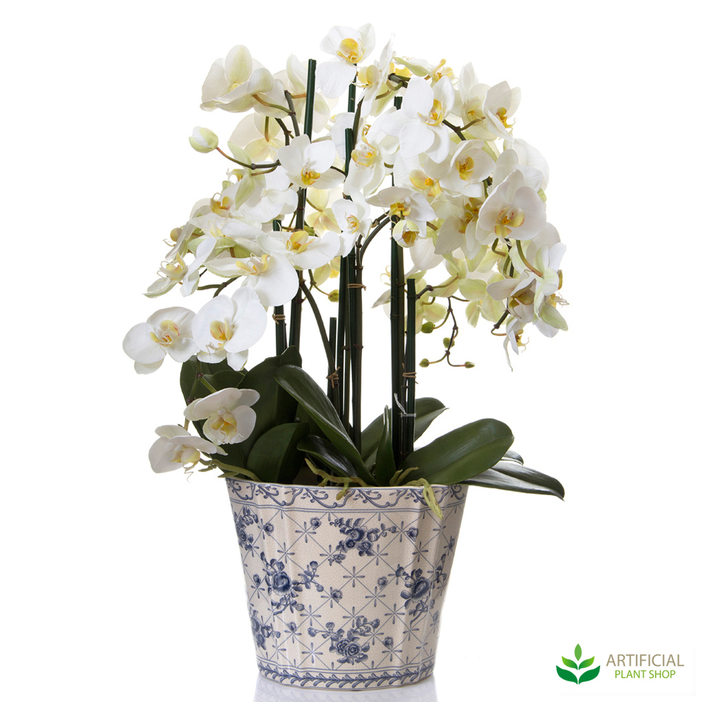 Artificial Phalaenopsis Orchid in Chinese Pot