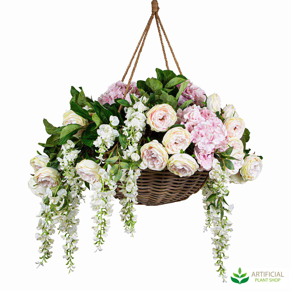 Artificial Pink Roses in hanging basket