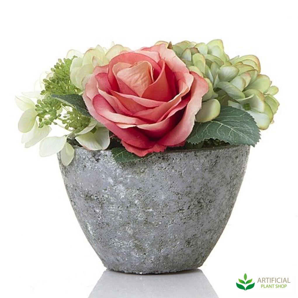 Rose Hydrangea in grey ceramic pot