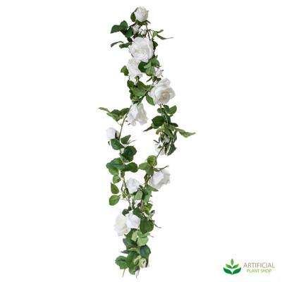 Rose White Garland 1.8m (pack of 6)