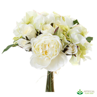 Rose Hydrangea White Bouquet 30cm (set of 6)