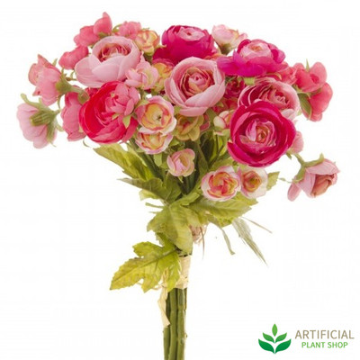Artificial flower bouquet - Ranunculus Bunch 2 tone pink