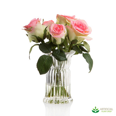 Rose with water in glass Vase 27cm