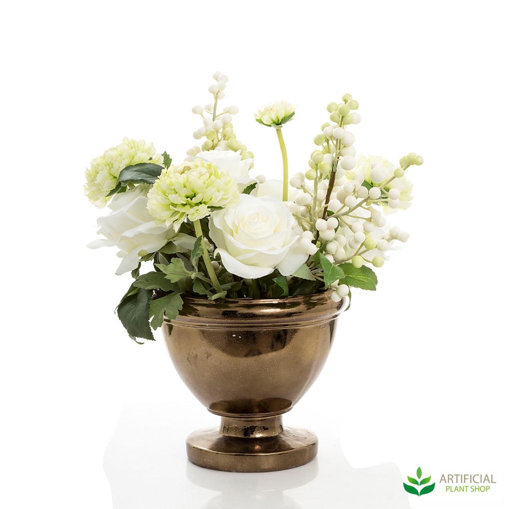 White Rose Ranunculus Berries in Copper Pot