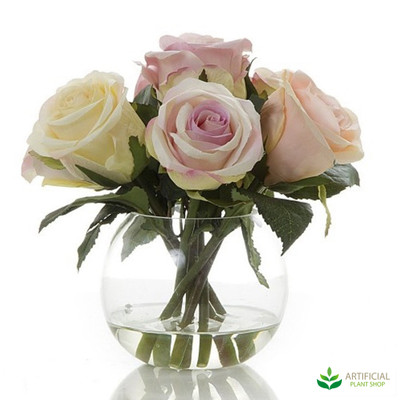 Pink & Cream Rose with water in glass vase