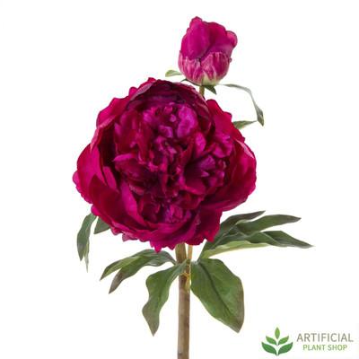 Artificial Flower - Dark Pink Peony Stem 55cm