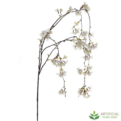 White Cherry Blossom Hanging Stem 130cm