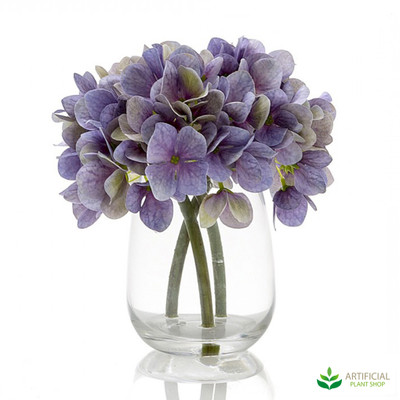 Blue Hydrangea in Glass Vase 18cm (set of 2)