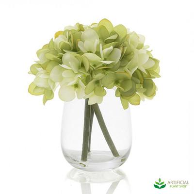green hydrangea in glass vase 18cm