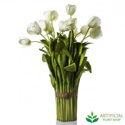 artificial white tulip bundle 72cm