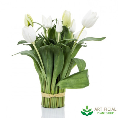 White Tulip Bundle Wrapped 40cm