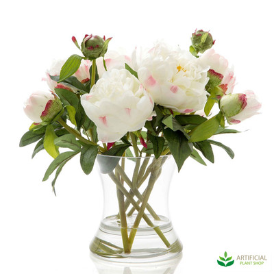 white peonies in glass vase 30cm