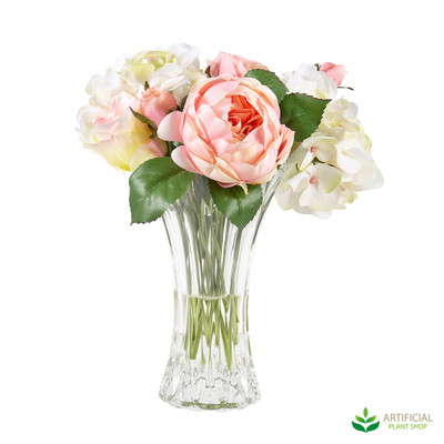 Rose Hydrangea Bouquet in Glass Vase 35cm