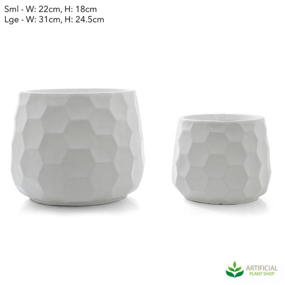 white honeycomb pot set