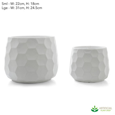white honeycomb pot set