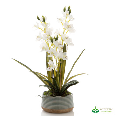 artificial orchids in sage pot 65cm tall