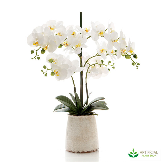 artificial white orchids in ivory pot 60cm