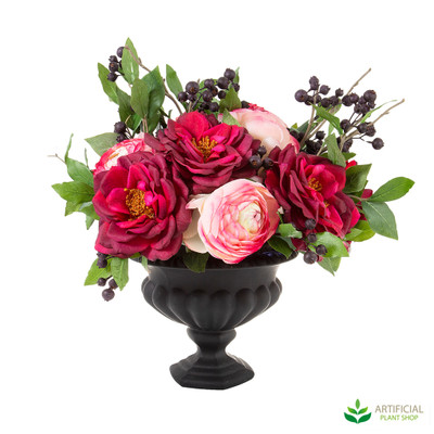 Mixed Roses in Black Vidor Bowl 35cm