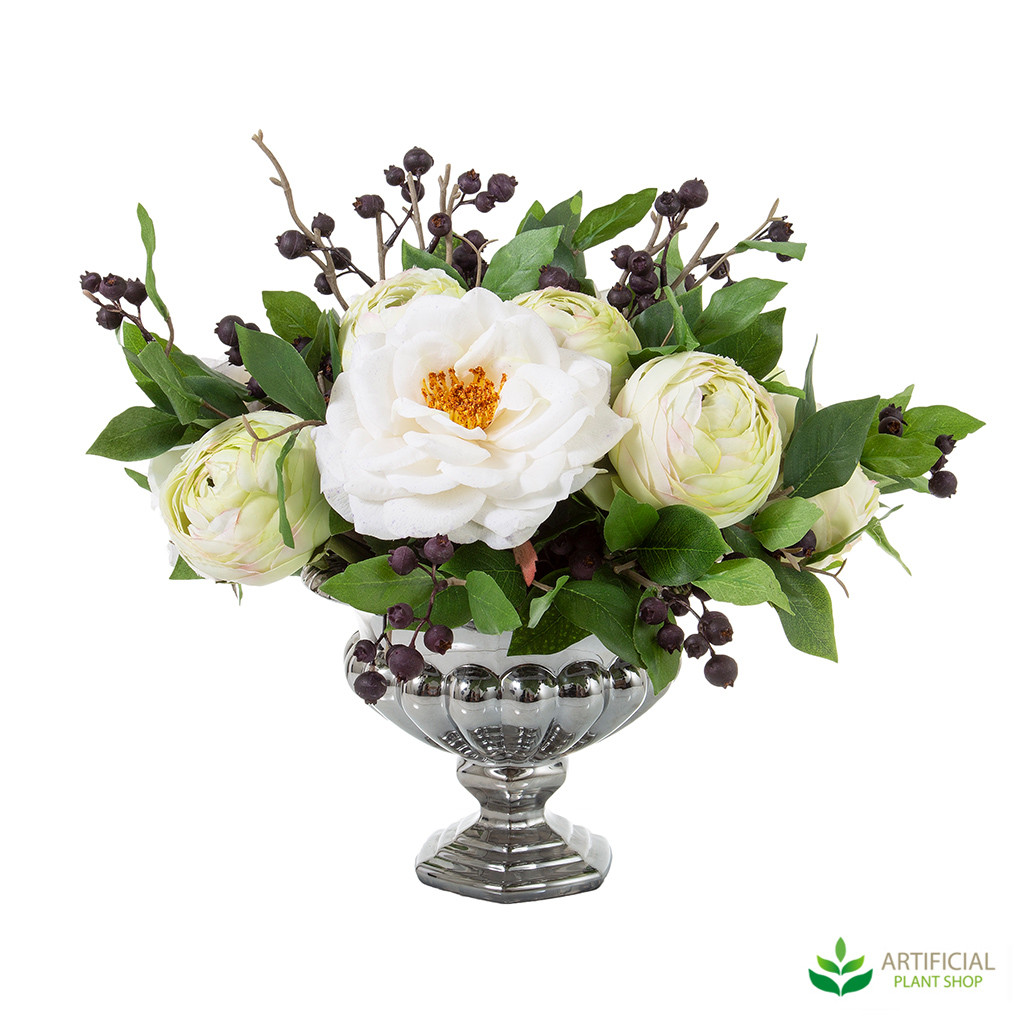 artificial mixed roses in silver bowl