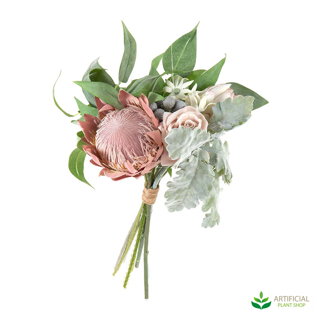 Artificial Protea and Rose Bouquet 40cm