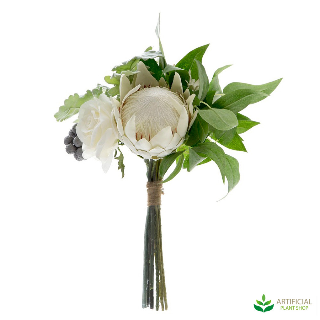 White Protea and Rose artificial flower bouquet