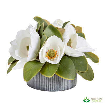 Artificial Magnolia flower arrangement in iron pot 28cm