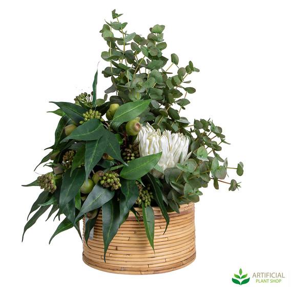 Artificial Eucalyptus leaf and flower arrangement