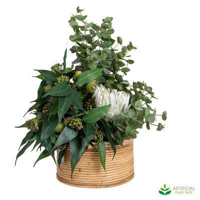 Artificial Eucalyptus leaf and flower arrangement