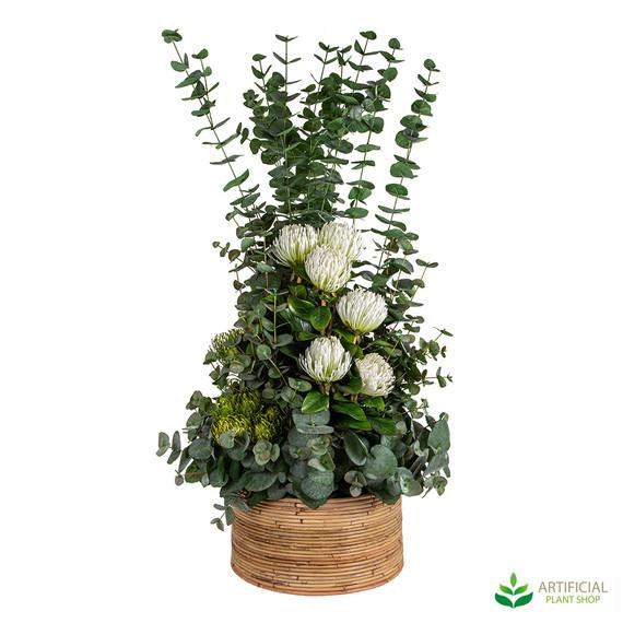 Artificial Eucalyptus and gum nut arrangement