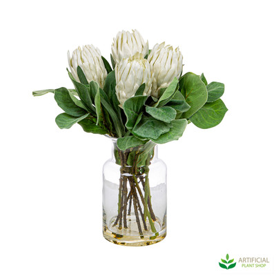 Artificial Protea flowers in vase