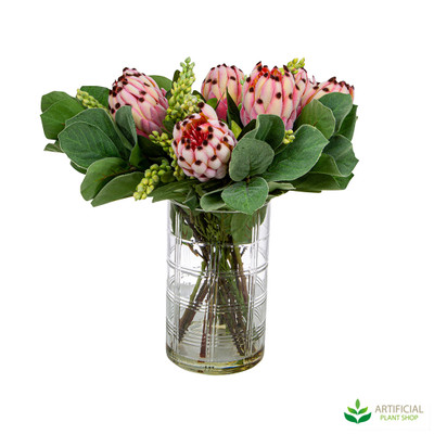 Artificial Pink protea flowers in vase