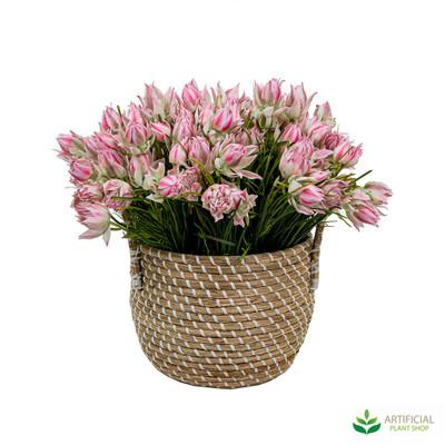 Pink Blushing Bride in Basket 40cm