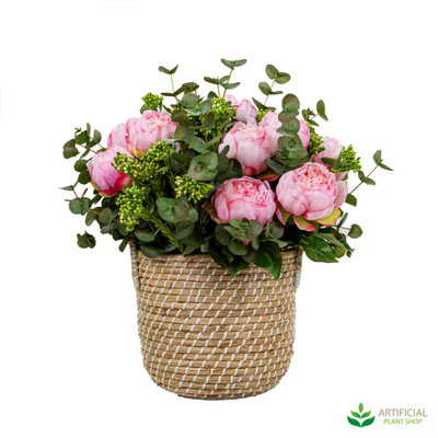 Artificial Peony flowers in basket