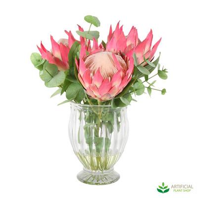 Dark Pink Giant Protea in Vase 35cm