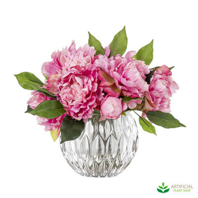 Pink Peony flowers in Glass Vase 32cm