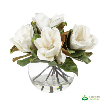White Magnolia Flowers in glass bowl 40cm
