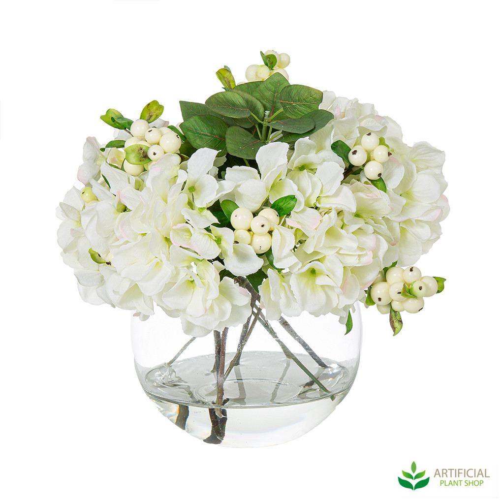 Artificial white hydrangea flowers