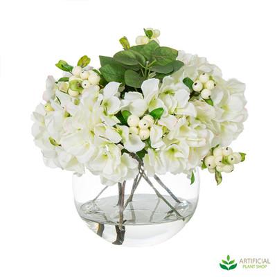 White Hydrangea Flowers in glass bowl 32cm