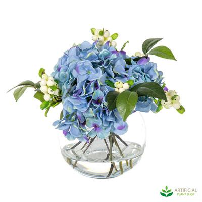 Blue Hydrangea Flowers in glass bowl 32cm