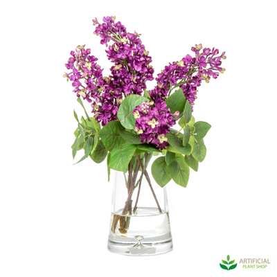 Purple Lilac's Arrangement in Glass vase 47cm
